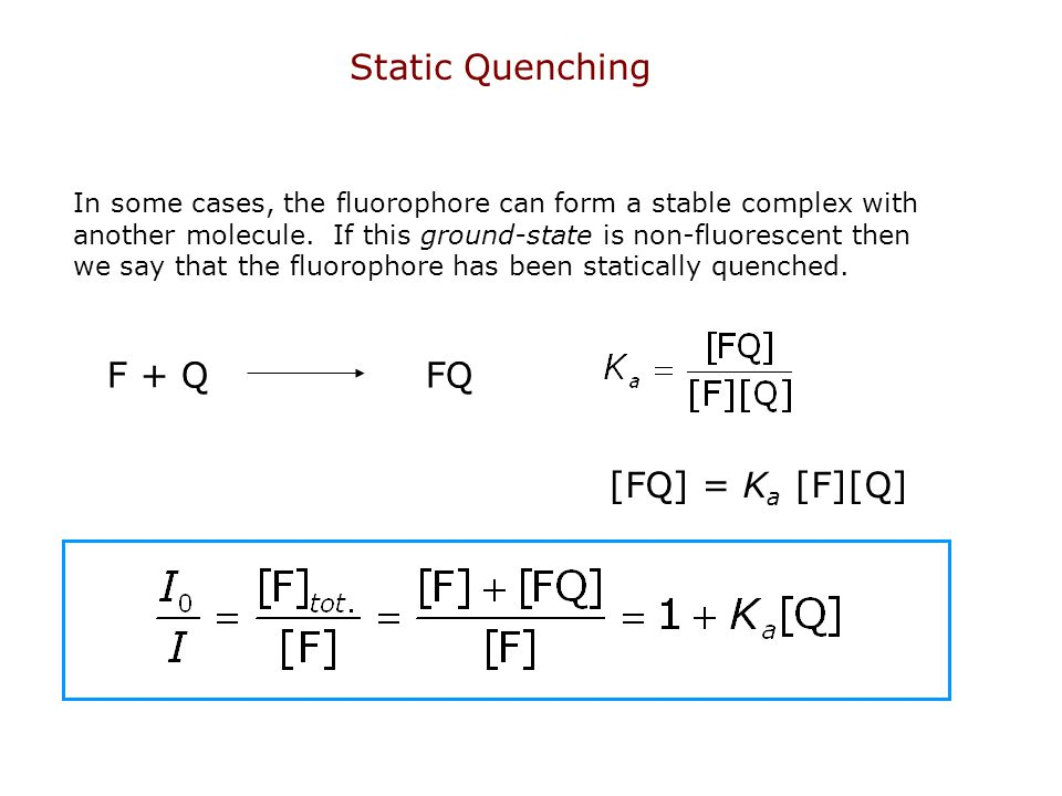 Static Quenching F + Q FQ [FQ] = Ka [F][Q]